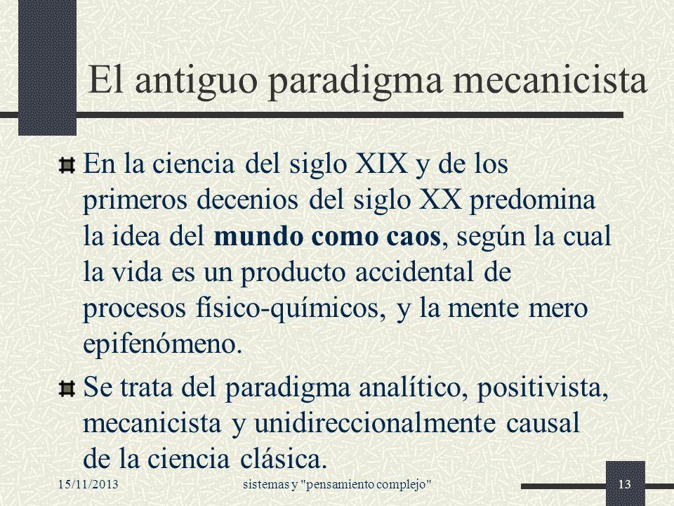 El antiguo paradigma mecanicista