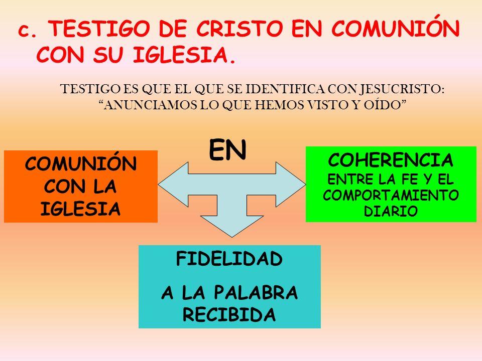 ENTRE LA FE Y EL COMPORTAMIENTO DIARIO COMUNIÓN CON LA IGLESIA