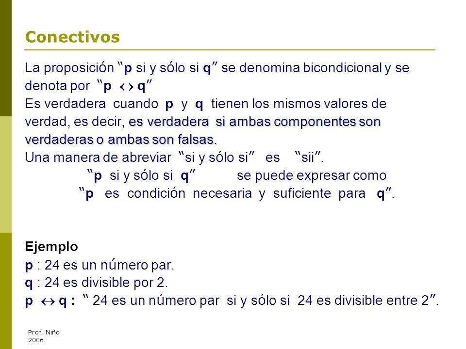 Conectivos La proposición p si y sólo si q se denomina bicondicional y se. denota por p  q