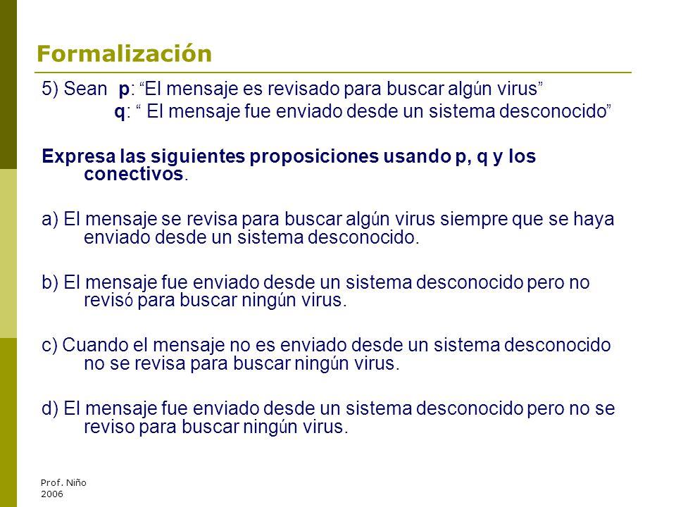 Formalización 5) Sean p: El mensaje es revisado para buscar algún virus q: El mensaje fue enviado desde un sistema desconocido