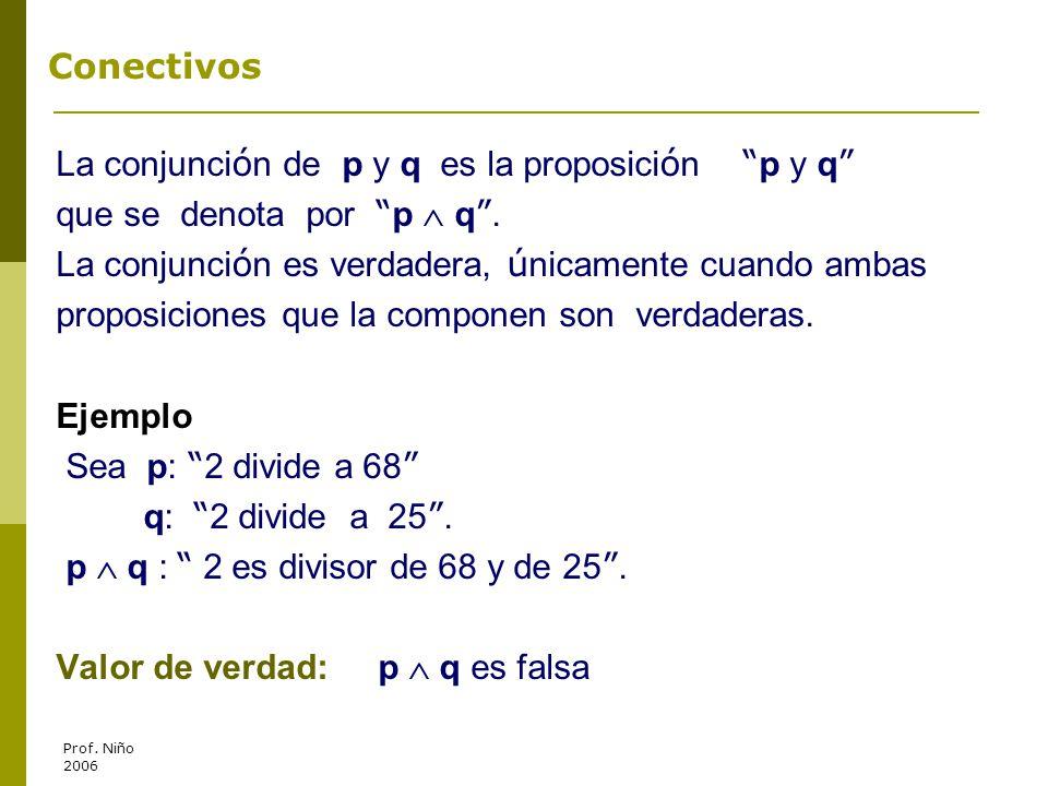 La conjunción de p y q es la proposición p y q