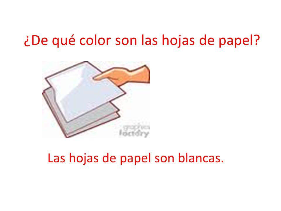 ¿De qué color son las hojas de papel