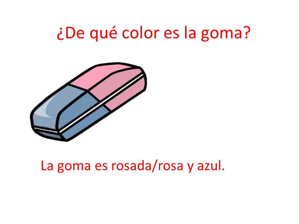 ¿De qué color es la goma La goma es rosada/rosa y azul.