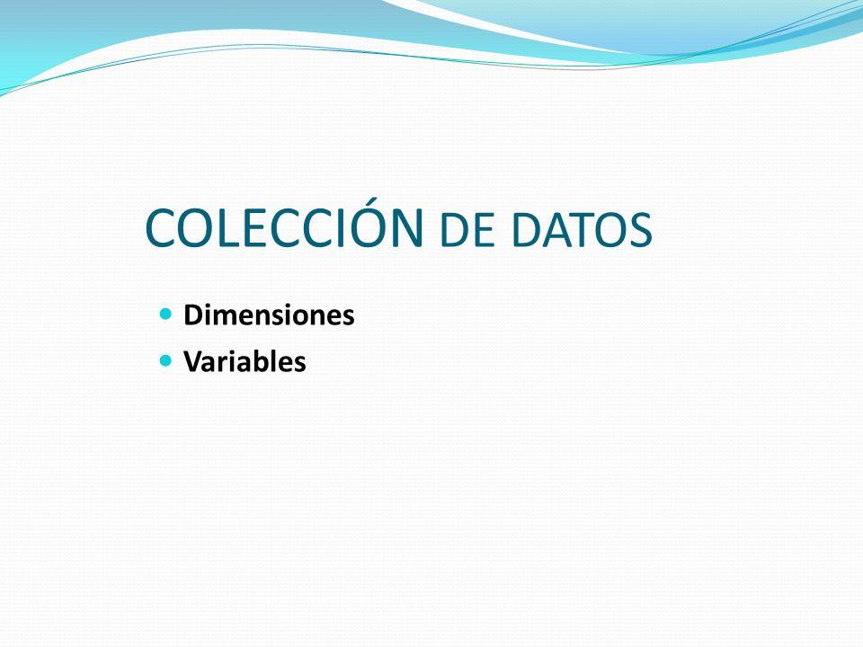 COLECCIÓN DE DATOS Dimensiones Variables