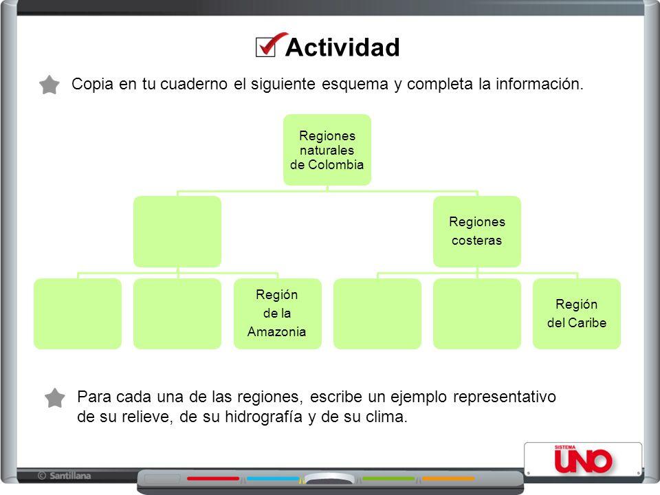 Actividad Copia en tu cuaderno el siguiente esquema y completa la información. Regiones naturales.