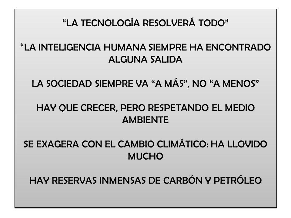 LA TECNOLOGÍA RESOLVERÁ TODO LA INTELIGENCIA HUMANA SIEMPRE HA ENCONTRADO ALGUNA SALIDA LA SOCIEDAD SIEMPRE VA A MÁS , NO A MENOS HAY QUE CRECER, PERO RESPETANDO EL MEDIO AMBIENTE SE EXAGERA CON EL CAMBIO CLIMÁTICO: HA LLOVIDO MUCHO HAY RESERVAS INMENSAS DE CARBÓN Y PETRÓLEO