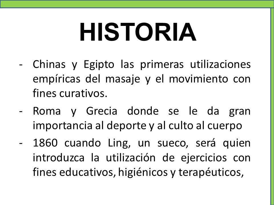 HISTORIA Chinas y Egipto las primeras utilizaciones empíricas del masaje y el movimiento con fines curativos.