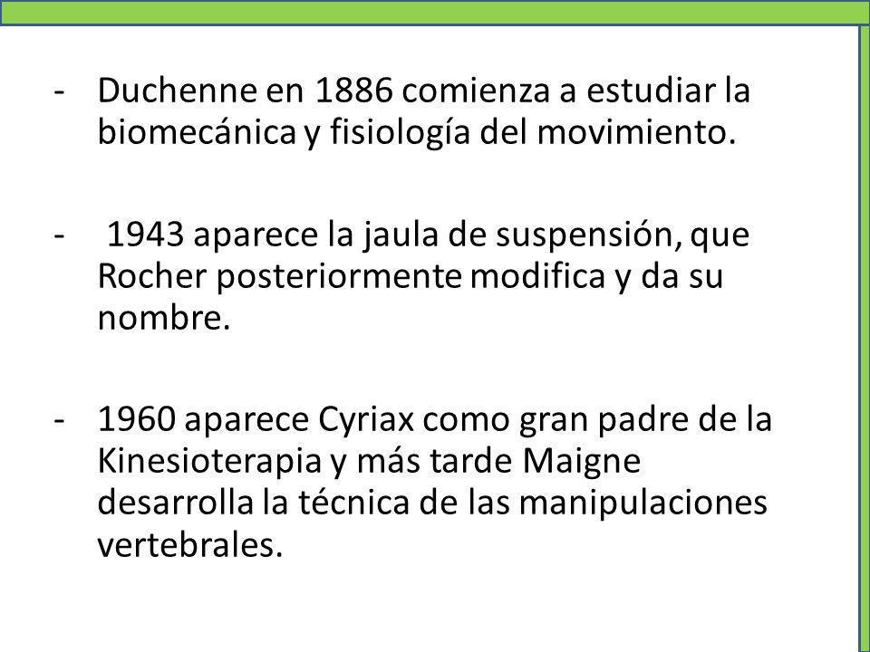 Duchenne en 1886 comienza a estudiar la biomecánica y fisiología del movimiento.