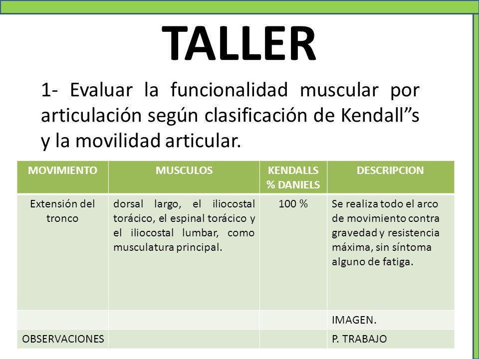 TALLER 1- Evaluar la funcionalidad muscular por articulación según clasificación de Kendall s y la movilidad articular.