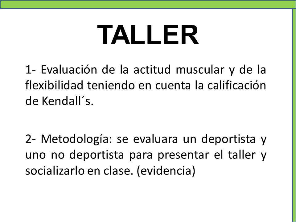 TALLER 1- Evaluación de la actitud muscular y de la flexibilidad teniendo en cuenta la calificación de Kendall´s.