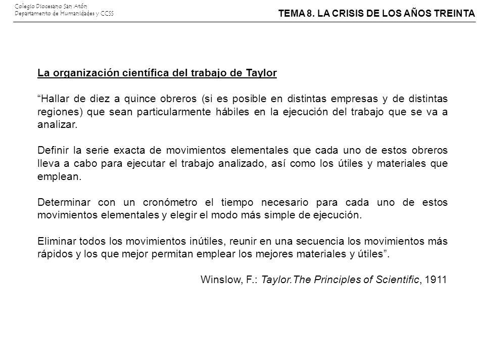 La organización científica del trabajo de Taylor