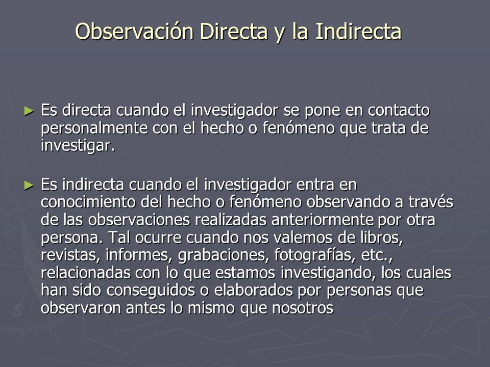 Observación Directa y la Indirecta