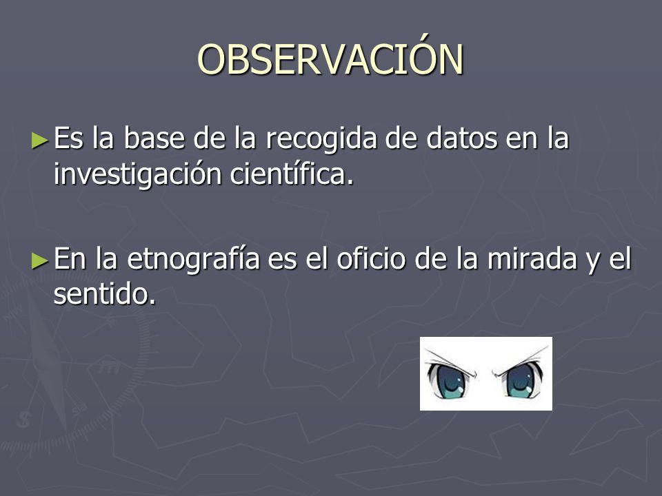 OBSERVACIÓN Es la base de la recogida de datos en la investigación científica.