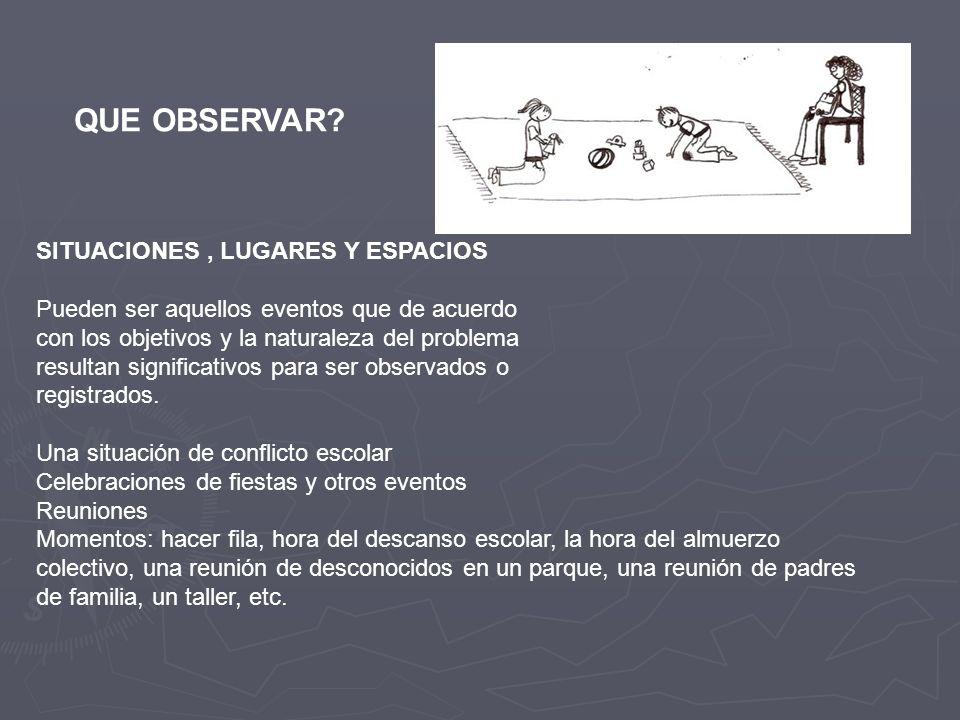 QUE OBSERVAR SITUACIONES , LUGARES Y ESPACIOS