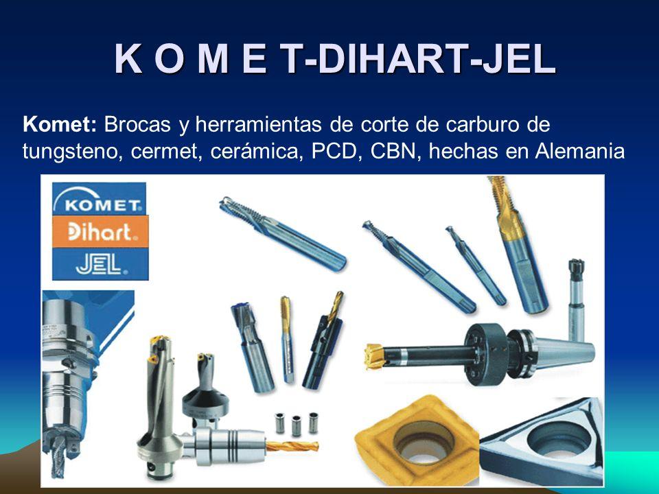 K O M E T-DIHART-JEL Komet: Brocas y herramientas de corte de carburo de tungsteno, cermet, cerámica, PCD, CBN, hechas en Alemania.