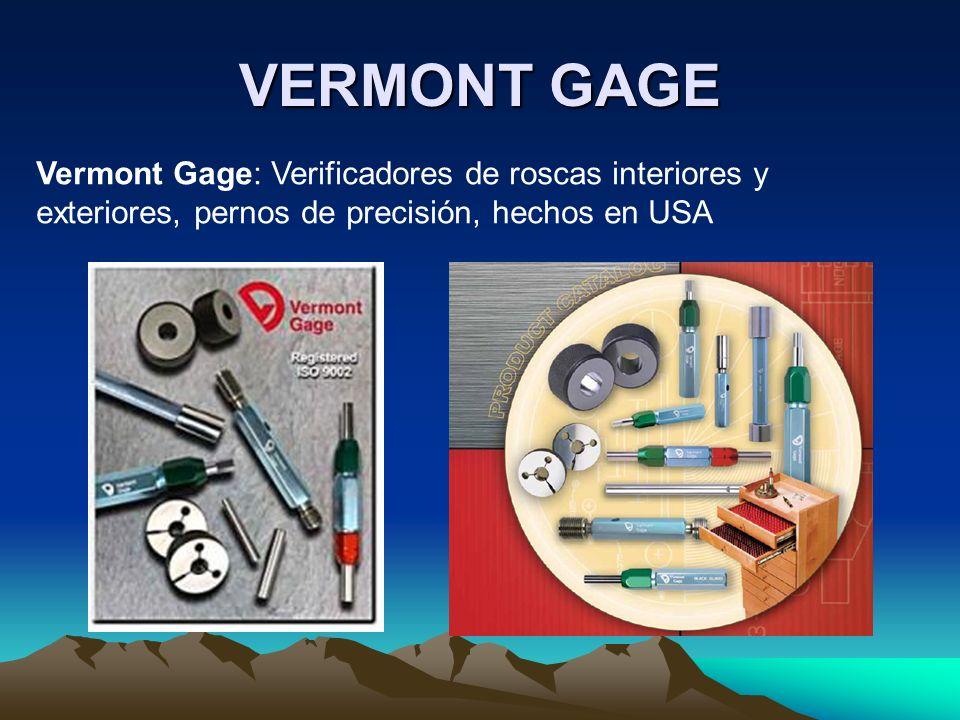 VERMONT GAGE Vermont Gage: Verificadores de roscas interiores y exteriores, pernos de precisión, hechos en USA.