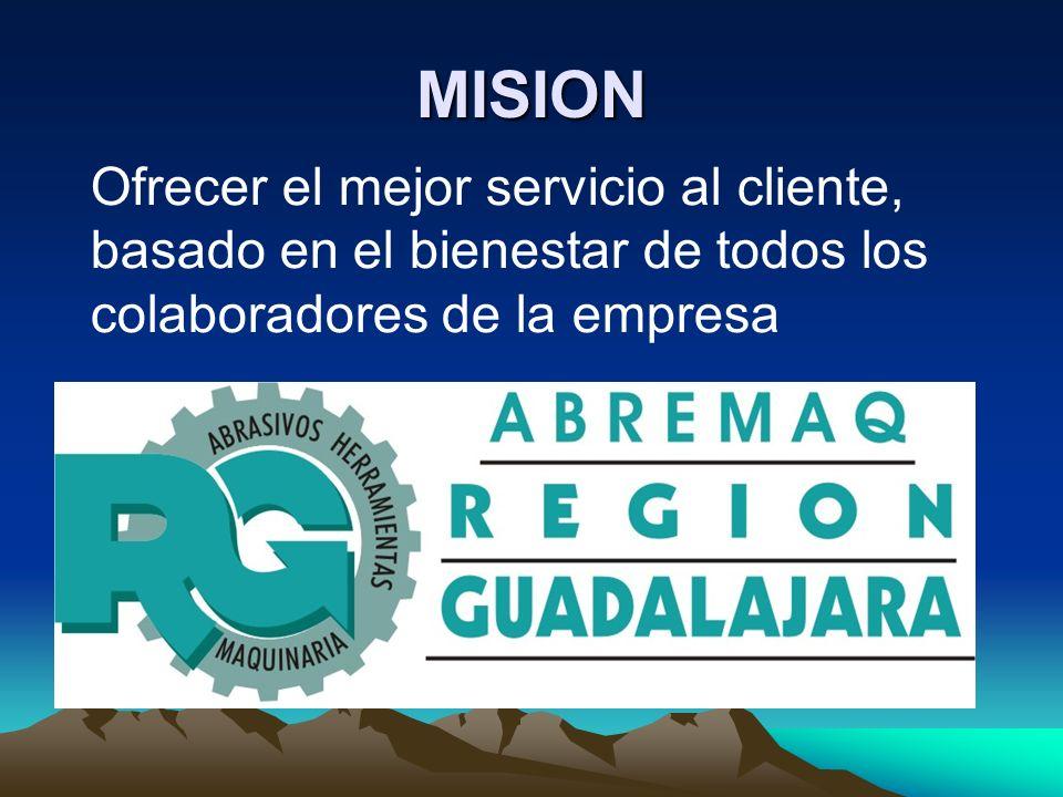 MISION Ofrecer el mejor servicio al cliente, basado en el bienestar de todos los colaboradores de la empresa.