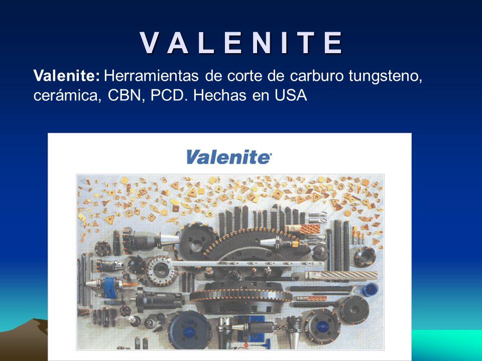 V A L E N I T EValenite: Herramientas de corte de carburo tungsteno, cerámica, CBN, PCD.