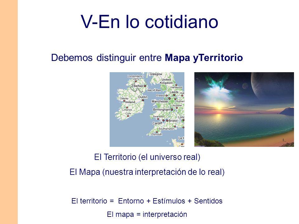V-En lo cotidiano Debemos distinguir entre Mapa yTerritorio