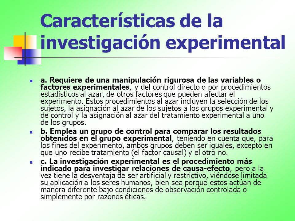 Características de la investigación experimental