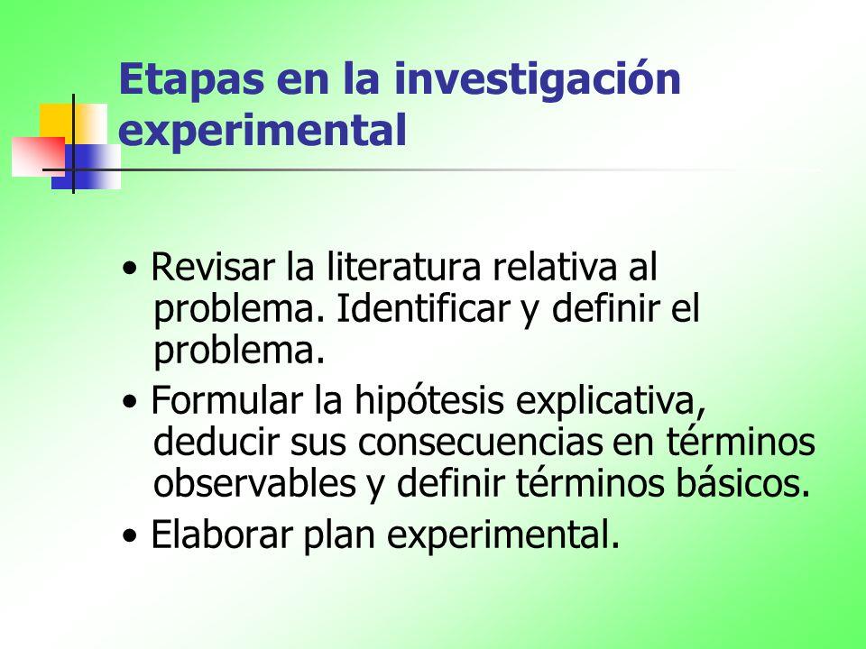 Etapas en la investigación experimental