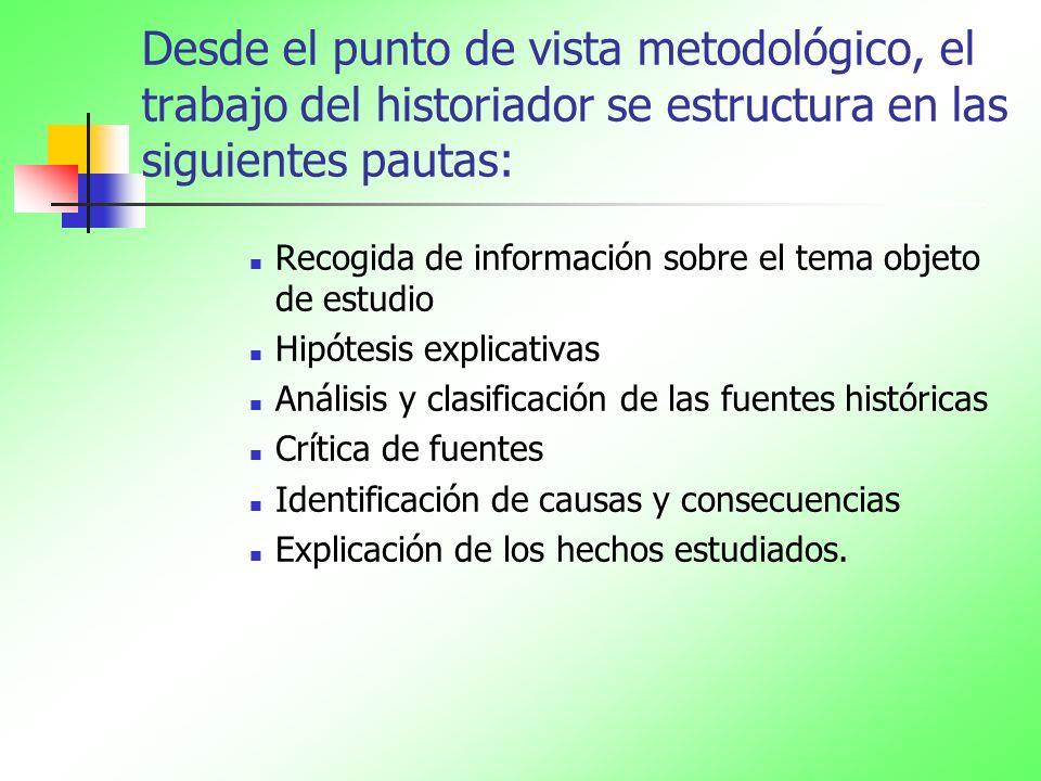 Desde el punto de vista metodológico, el trabajo del historiador se estructura en las siguientes pautas: