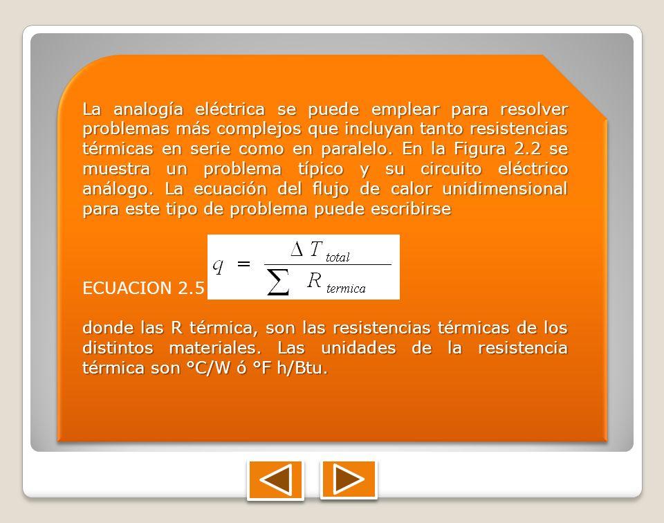 La analogía eléctrica se puede emplear para resolver problemas más complejos que incluyan tanto resistencias térmicas en serie como en paralelo. En la Figura 2.2 se muestra un problema típico y su circuito eléctrico análogo. La ecuación del flujo de calor unidimensional para este tipo de problema puede escribirse
