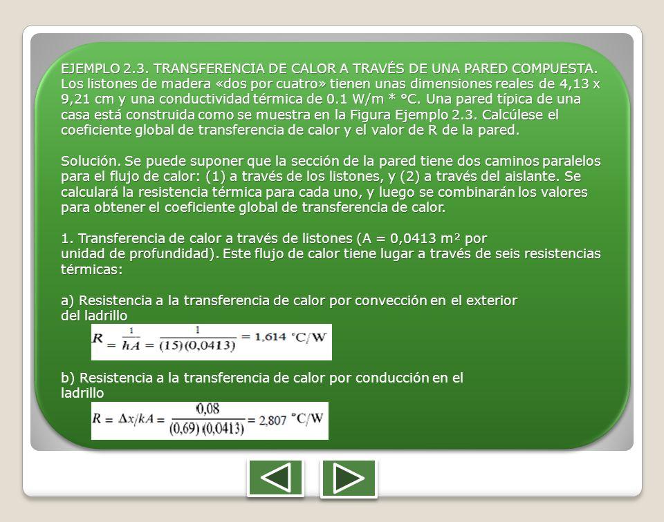 EJEMPLO 2. 3. TRANSFERENCIA DE CALOR A TRAVÉS DE UNA PARED COMPUESTA
