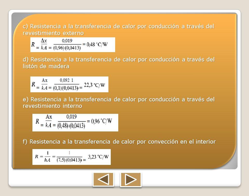 c) Resistencia a la transferencia de calor por conducción a través del revestimiento externo