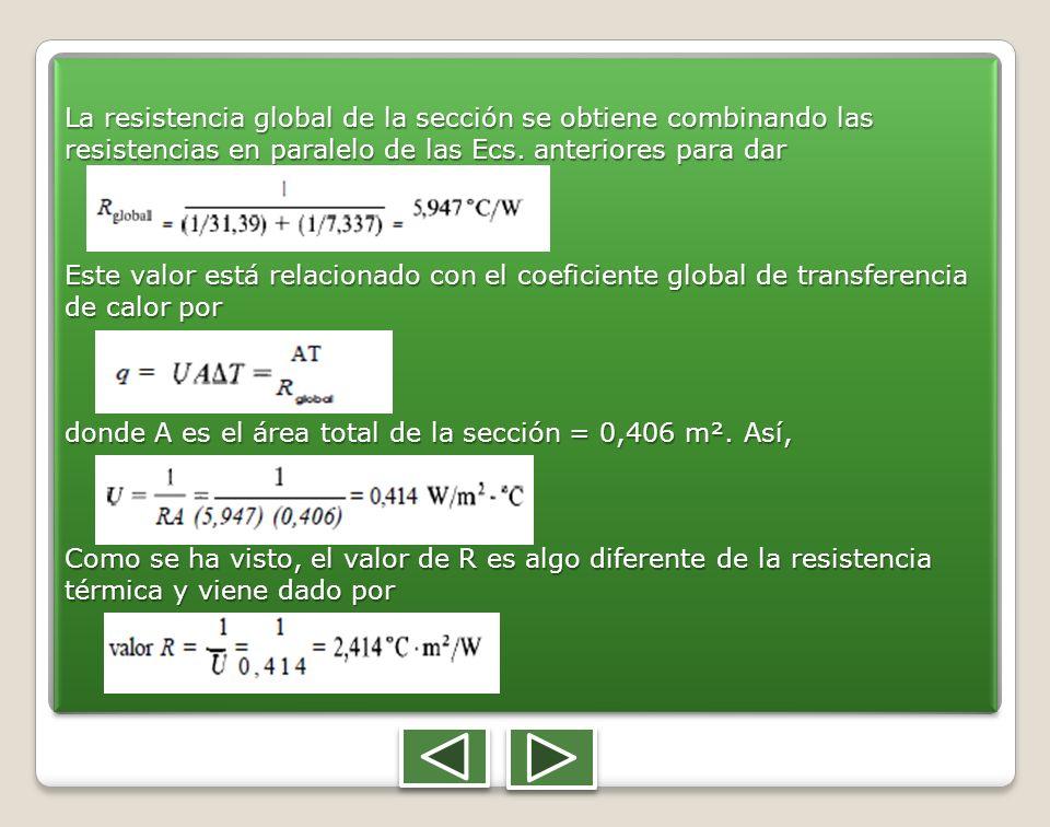 La resistencia global de la sección se obtiene combinando las resistencias en paralelo de las Ecs. anteriores para dar