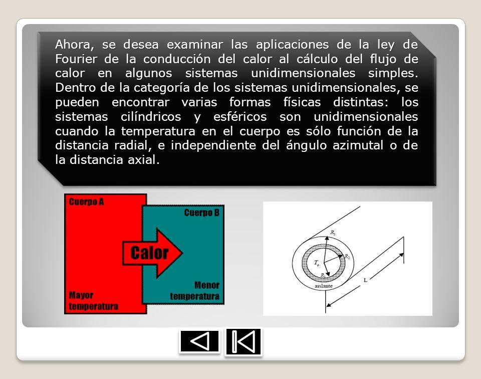 Ahora, se desea examinar las aplicaciones de la ley de Fourier de la conducción del calor al cálculo del flujo de calor en algunos sistemas unidimensionales simples.