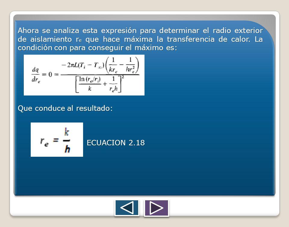 Ahora se analiza esta expresión para determinar el radio exterior de aislamiento re que hace máxima la transferencia de calor. La condición con para conseguir el máximo es:
