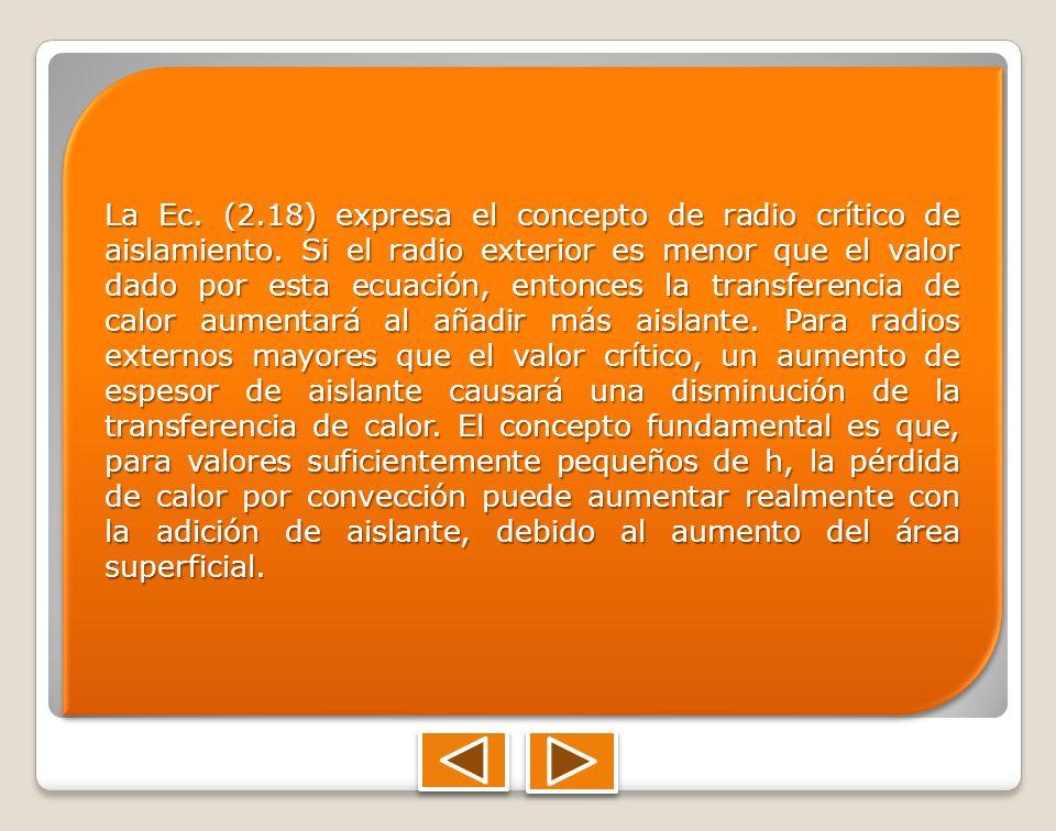 La Ec. (2. 18) expresa el concepto de radio crítico de aislamiento