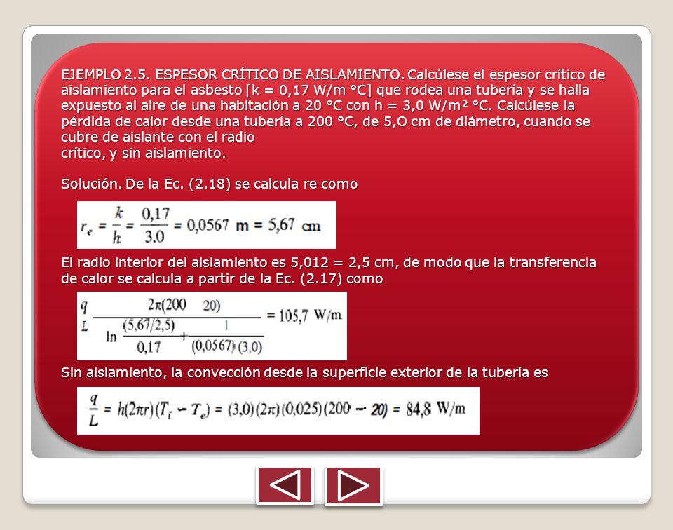 EJEMPLO 2. 5. ESPESOR CRÍTICO DE AISLAMIENTO