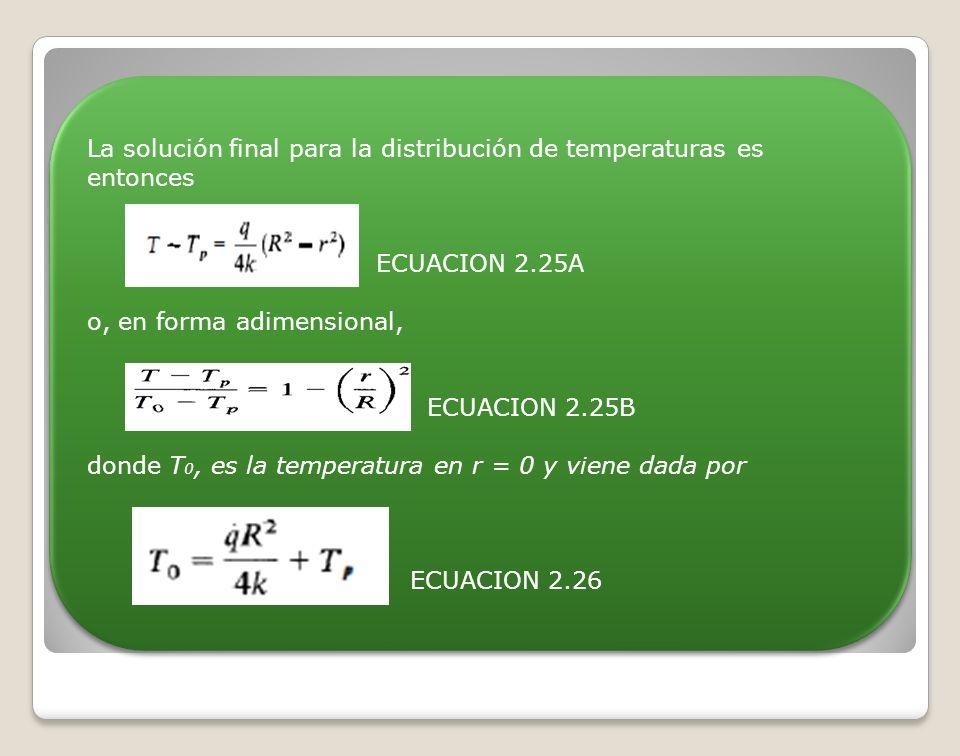 La solución final para la distribución de temperaturas es entonces