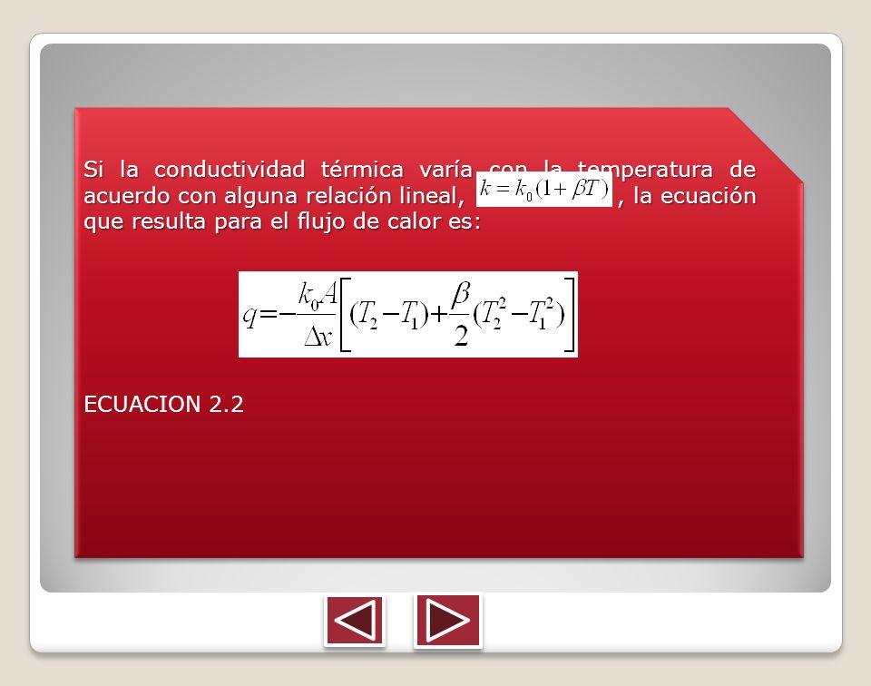Si la conductividad térmica varía con la temperatura de acuerdo con alguna relación lineal, , la ecuación que resulta para el flujo de calor es: