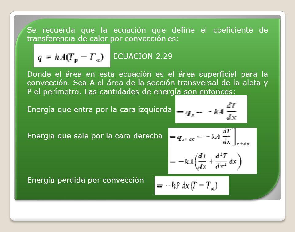 Se recuerda que la ecuación que define el coeficiente de transferencia de calor por convección es: