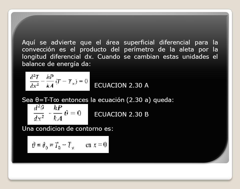 Aquí se advierte que el área superficial diferencial para la convección es el producto del perímetro de la aleta por la longitud diferencial dx. Cuando se cambian estas unidades el balance de energía da: