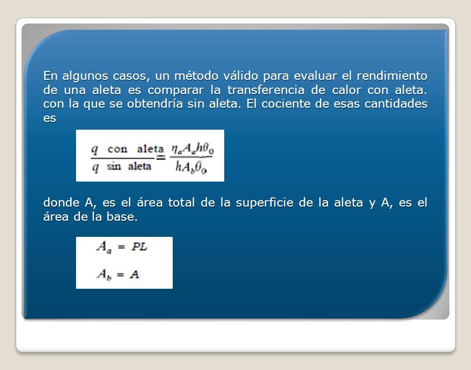 En algunos casos, un método válido para evaluar el rendimiento de una aleta es comparar la transferencia de calor con aleta. con la que se obtendría sin aleta. El cociente de esas cantidades es