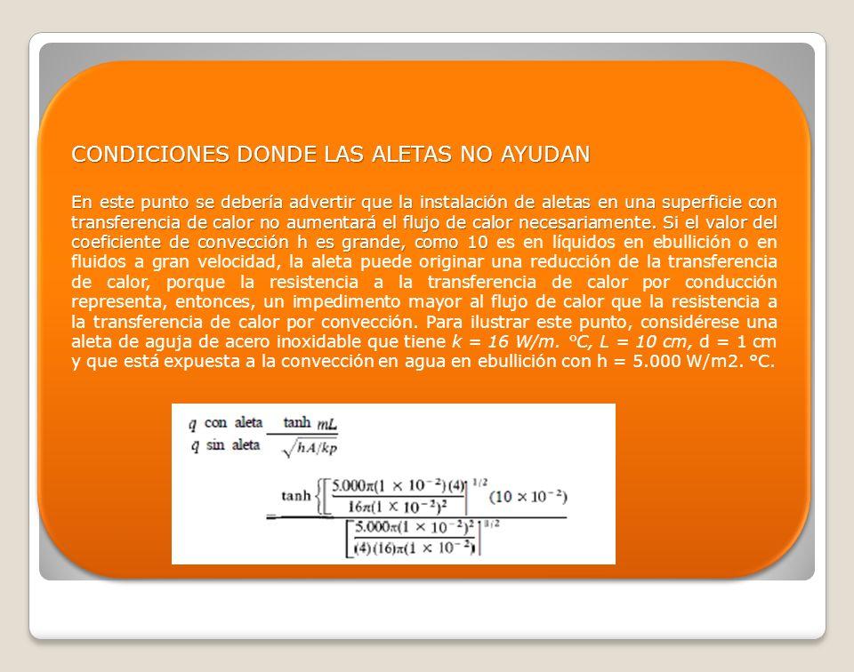 CONDICIONES DONDE LAS ALETAS NO AYUDAN