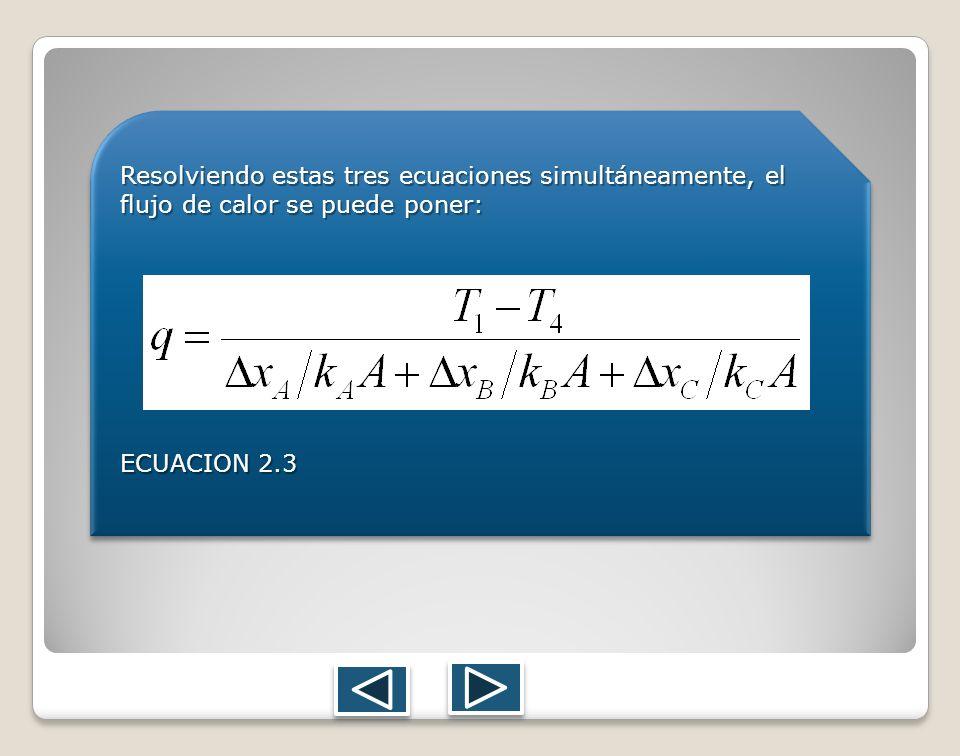 Resolviendo estas tres ecuaciones simultáneamente, el flujo de calor se puede poner:
