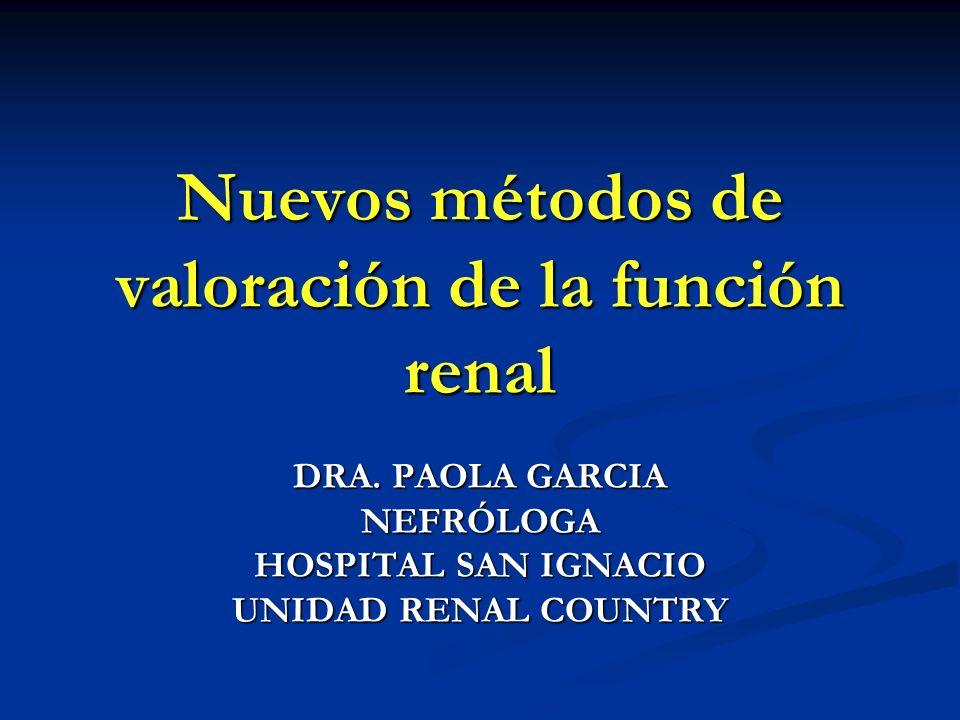 Nuevos métodos de valoración de la función renal