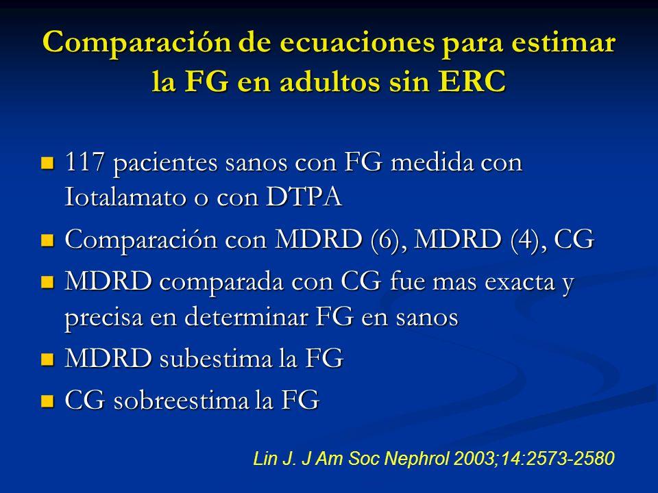 Comparación de ecuaciones para estimar la FG en adultos sin ERC