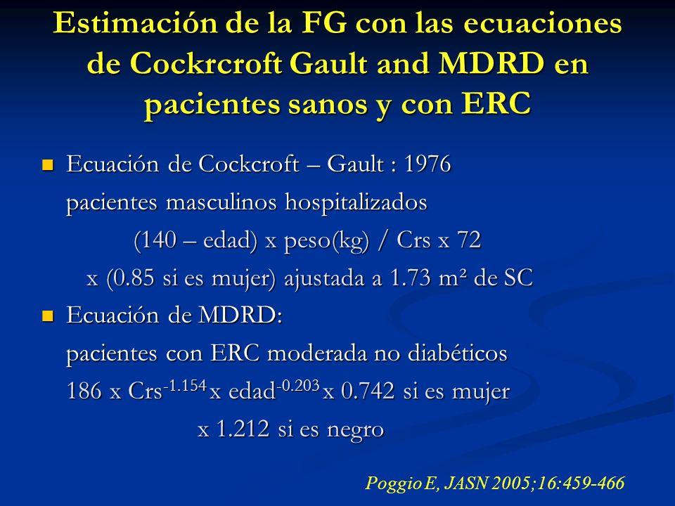 Estimación de la FG con las ecuaciones de Cockrcroft Gault and MDRD en pacientes sanos y con ERC