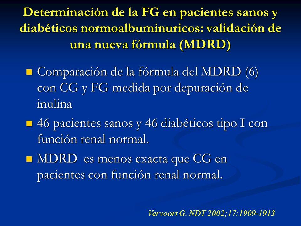 46 pacientes sanos y 46 diabéticos tipo I con función renal normal.