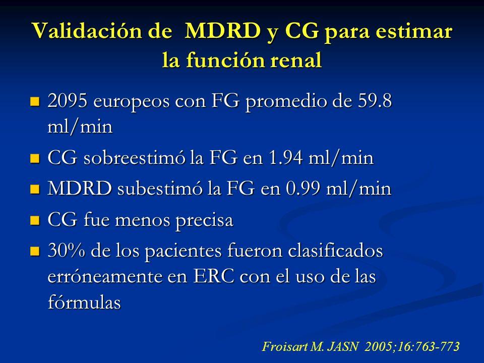 Validación de MDRD y CG para estimar la función renal