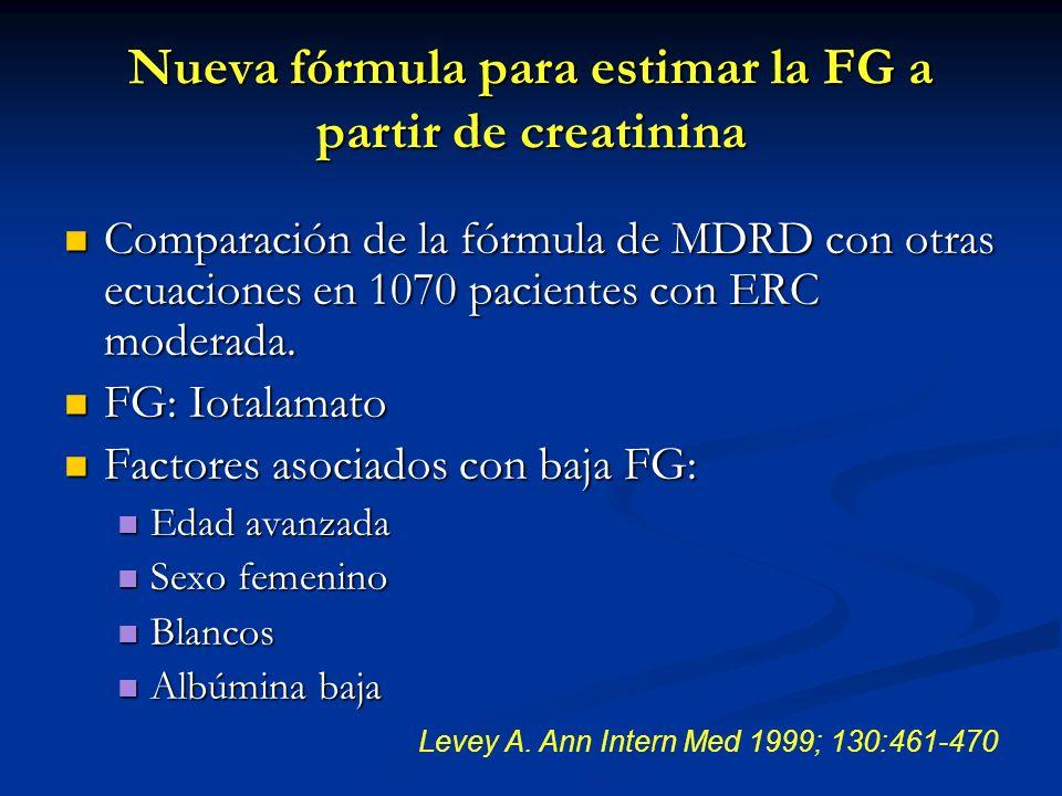 Nueva fórmula para estimar la FG a partir de creatinina