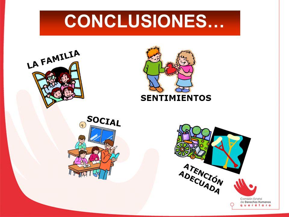CONCLUSIONES… SENTIMIENTOS LA FAMILIA SOCIAL ATENCIÓN ADECUADA