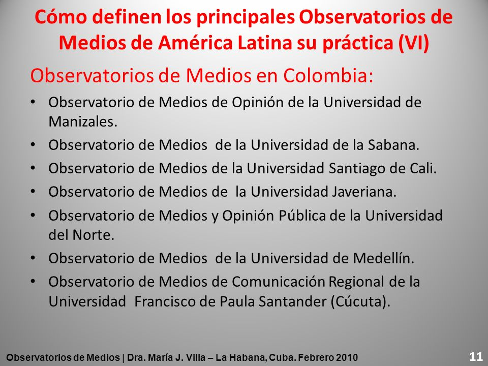 Observatorios de Medios en Colombia: