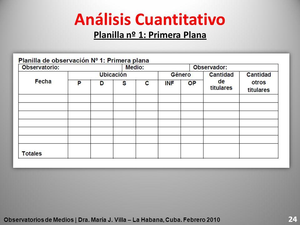Planilla nº 1: Primera Plana